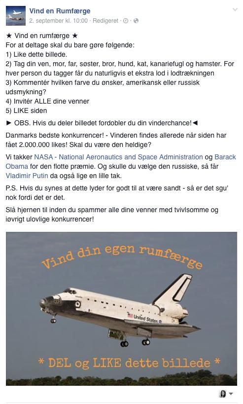 Vind en rumfærge på Facebook